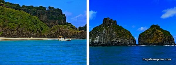 Passeio de barco pelo Mar de entro, Morros Dois Irmãos, Fernando de Noronha