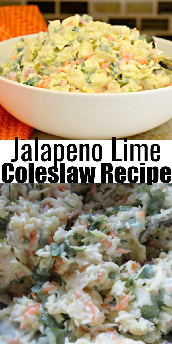 Recipe for Jalapeño Coleslaw is the perfect side dish for barbecues and picnics from Serena Bakes Simply From Scratch.