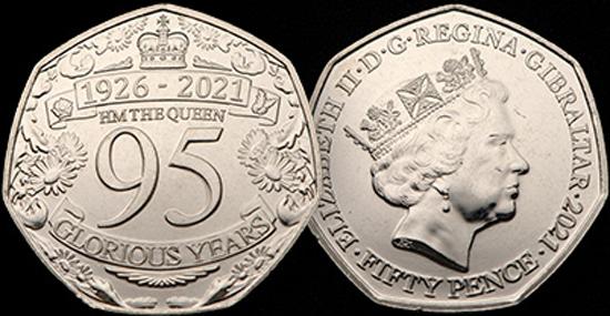 Gibraltar 50 pence 2021 - Queen Elizabeth II 95th Birthday