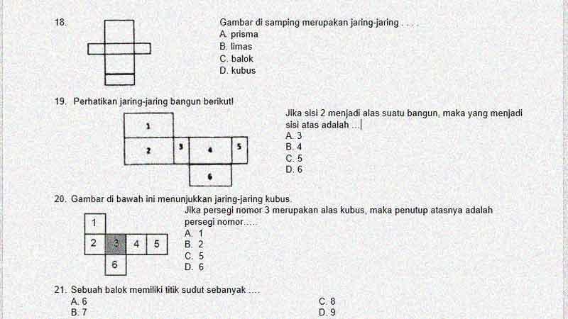 Soal Ulangan Matematika K-13 Kelas 5 KD 3.6 Jaring-Jaring Kubus dan Balok