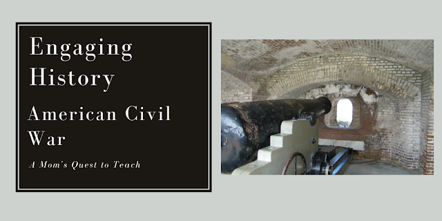 Text: Engaging History: American Civil War; A Mom's Quest to Teach; photo of canon at Fort Sumter
