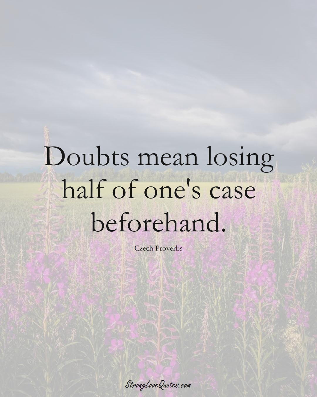 Doubts mean losing half of one's case beforehand. (Czech Sayings);  #EuropeanSayings