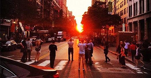 Manhattanhenge fenômeno solar EUA