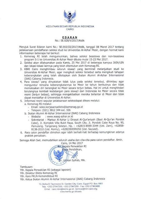 surat edaran seleksi beasiswa dan non beasiswa ke al-azhar kairo