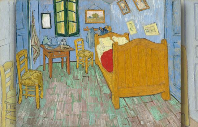 O quarto em Arles, segunda versão, setembro de 1889. Óleo sobre tela, 72 x 90 cm, Art Institute of Chicago