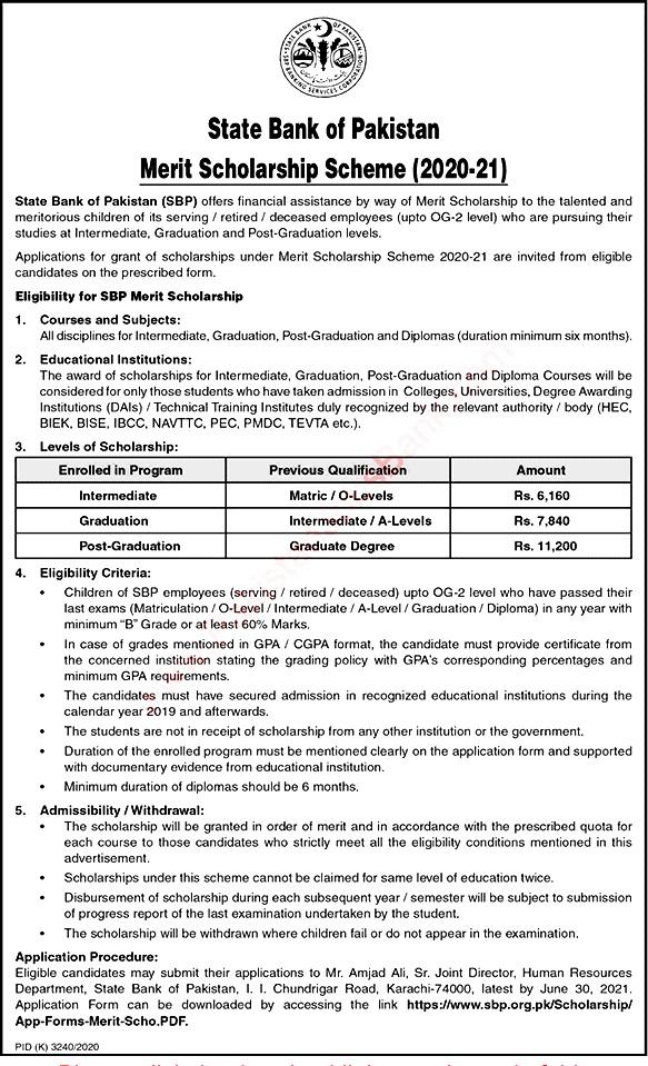 State Bank of Pakistan SBP  Merit Scholarship Scheme  2021- Download Application Form
