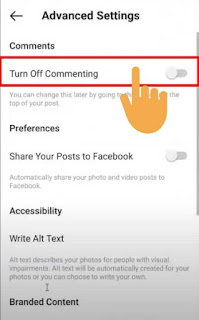 disable comments on instagram