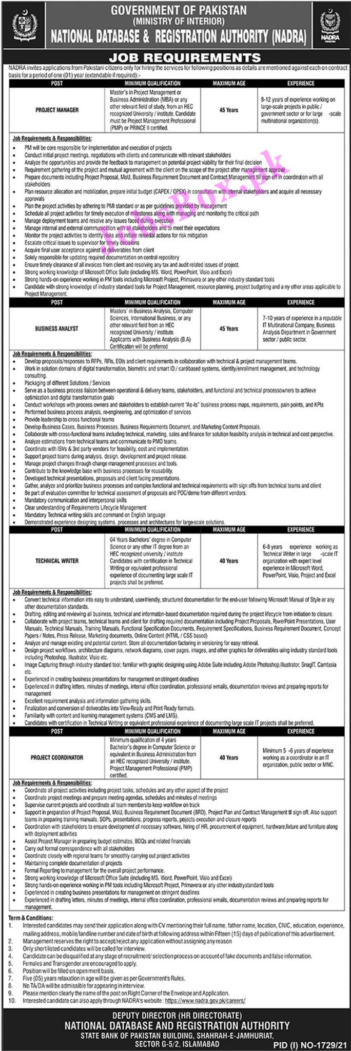 https://www.nadra.gov.pk/careers/ - NADRA National Database and Registration Authority Jobs 2021 in Pakistan