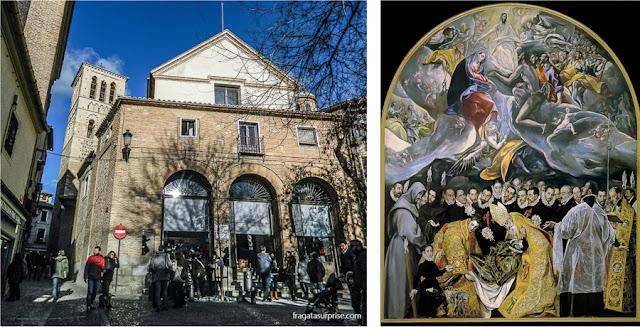 """Igreja de San Tomé, em Toledo e o quadro """"O Enterro do Senhor de Orgaz"""", de El Greco"""