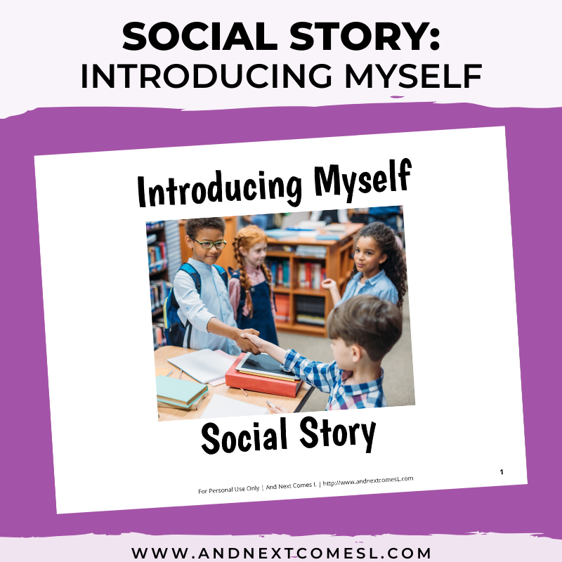 Printable social story for kids with autism about how to introduce yourself to others