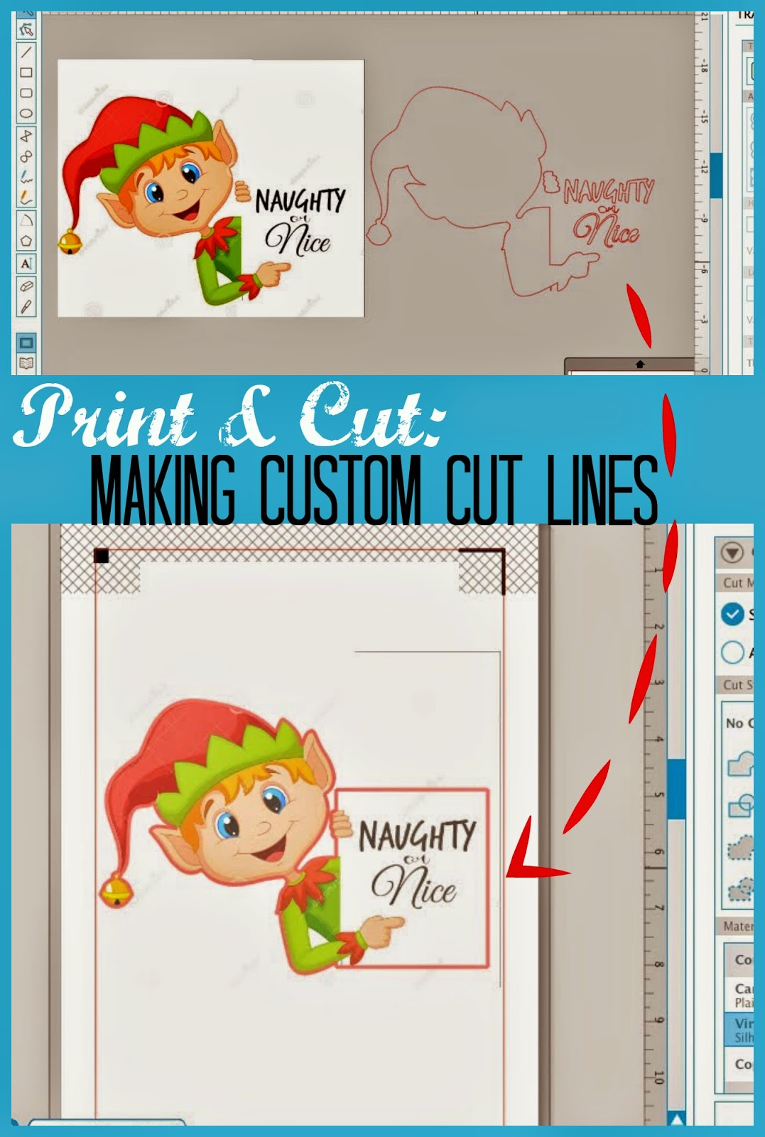 Print and cut, Silhouette Studio, custom cut lines