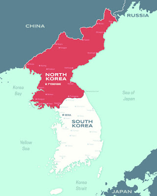 Peta Korea Selatan dan Korea Utara