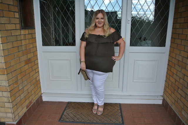 Plus Size Khaki Off The Shoulder Top White Jeggings Comfortable Wedges