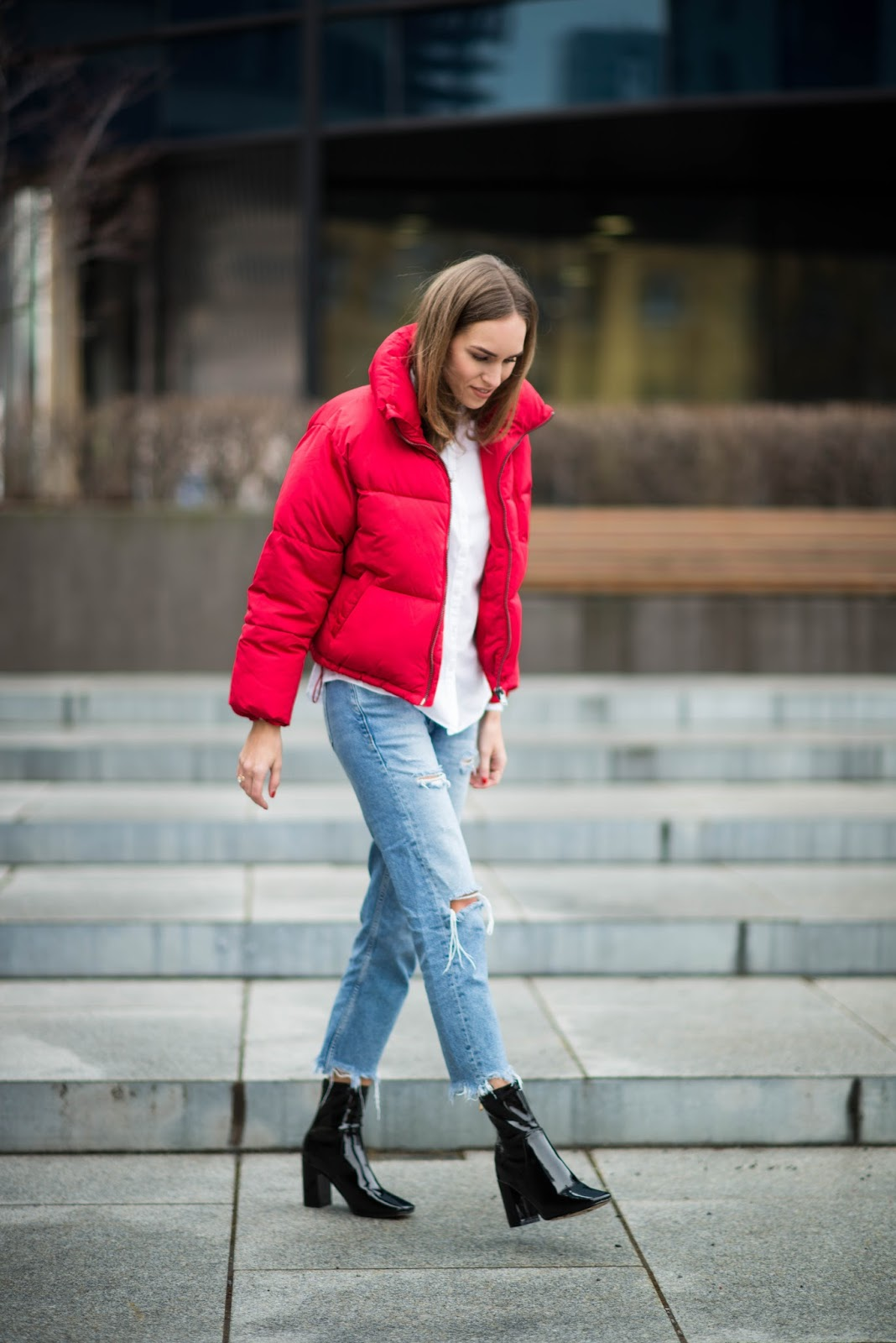 puffer jacket vinyl boots outfit