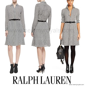 Kate Middleton Style Ralph Lauren Long Sleeve Houndstooth Belted Shirtdres