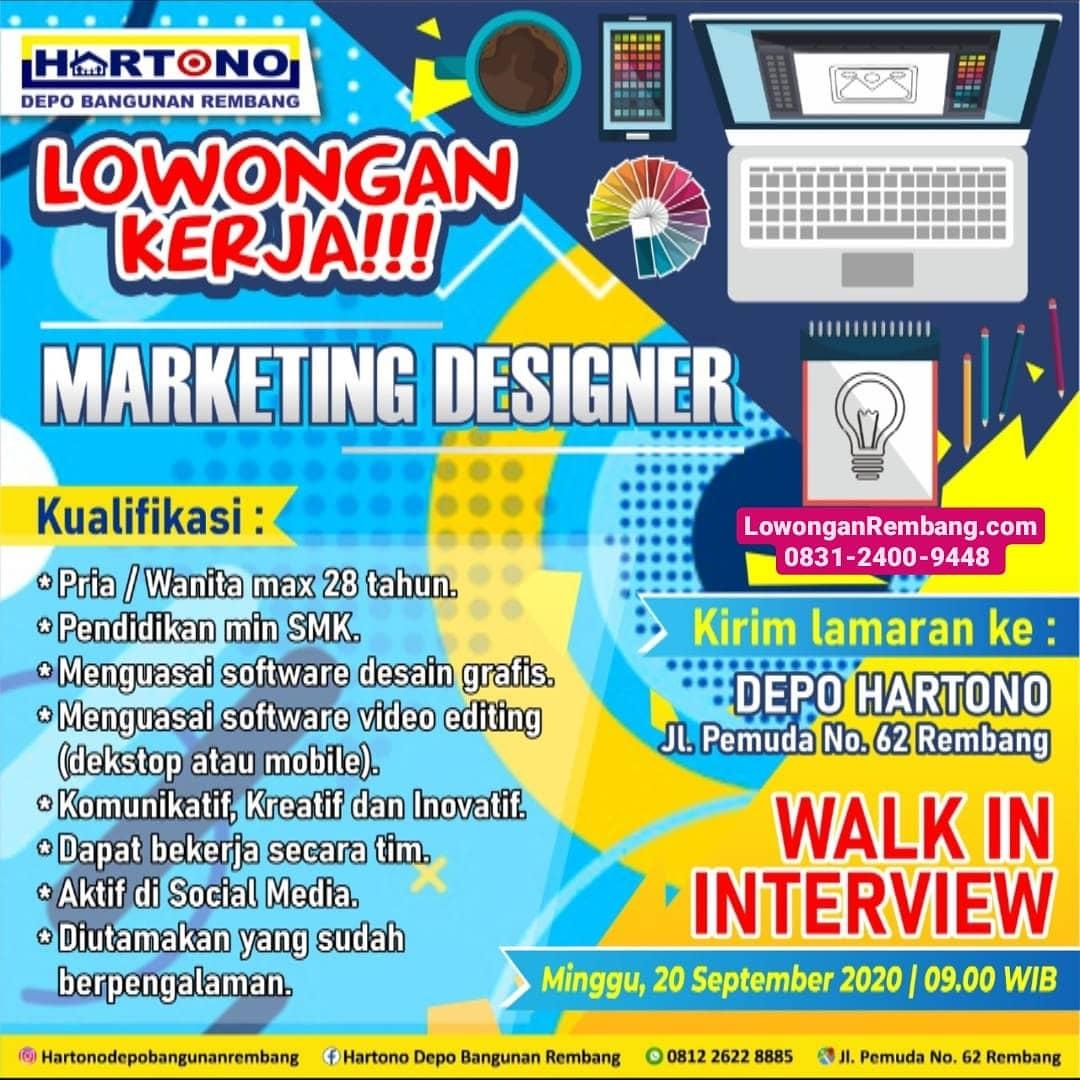 Lowongan Kerja Marketing Designer Hartono Depo Toko Bangunan Rembang