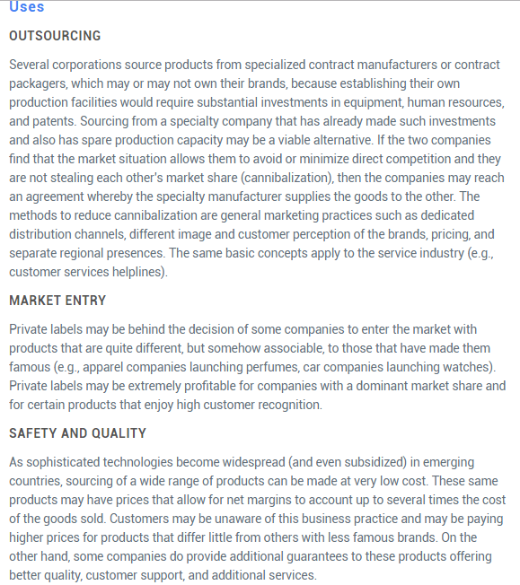Image of Uses of Private label Product in Industry  with Example