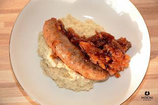 zdjęcie: biała kiełbasa z puree z selera