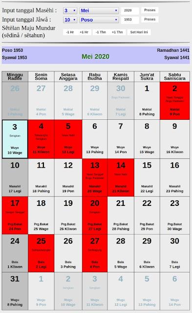 Kalender Jawa hari baik bulan mei 2020