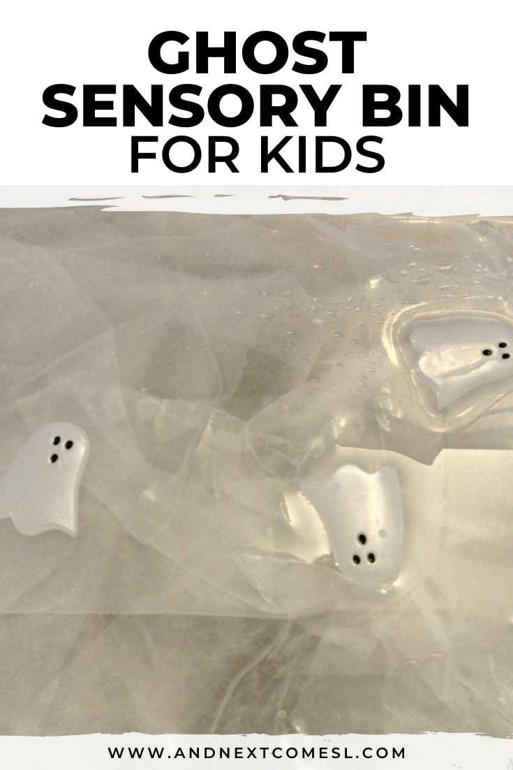 Simple ghost sensory bin activity for Halloween - great for toddlers and preschool kids!