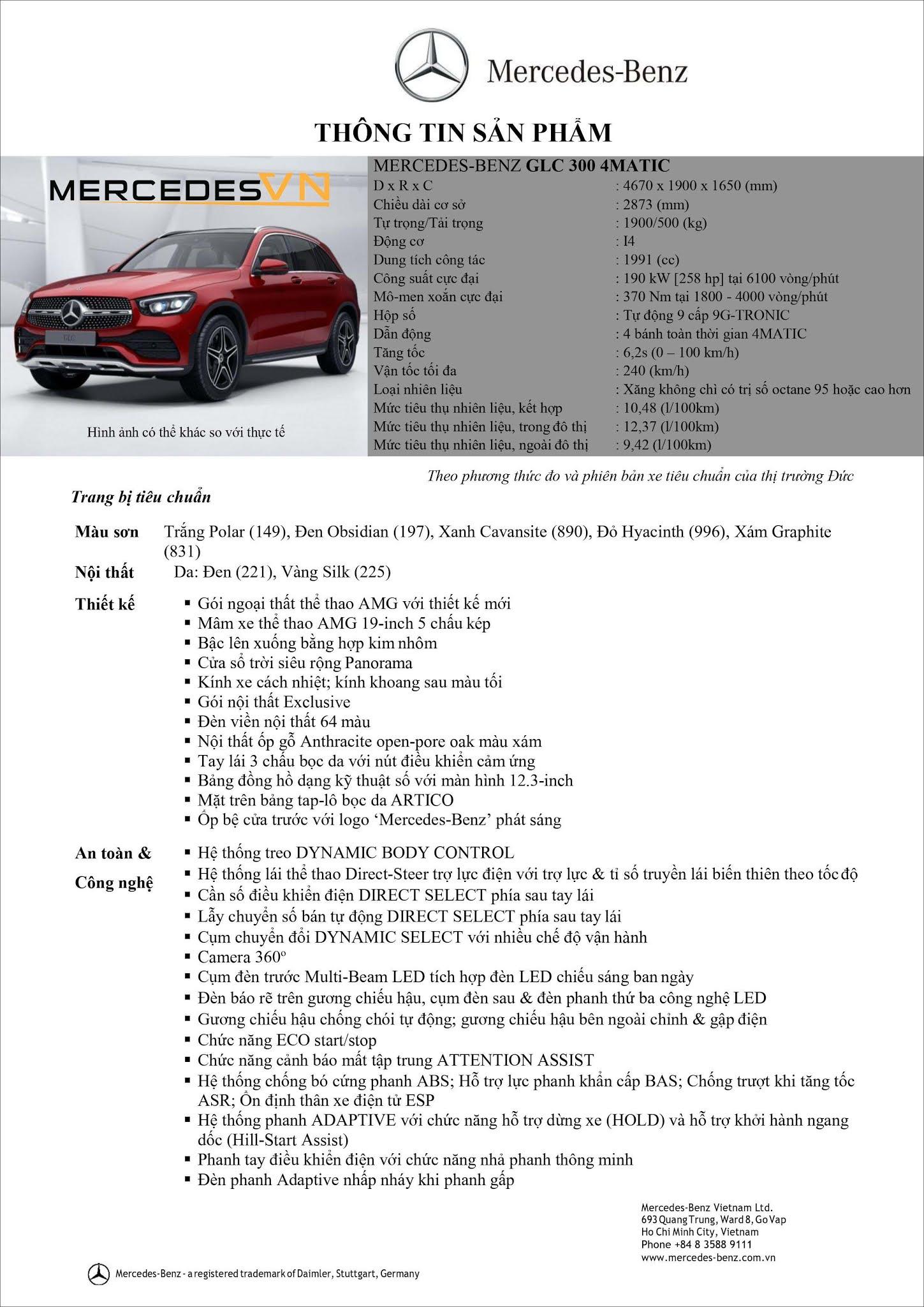 Bảng thông số kỹ thuật Mercedes GLC 300 4MATIC 2021