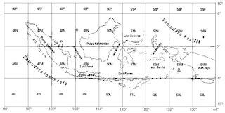 Pembagian zone sistem koordinat UTM untuk wilayah Indonesia.