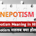 What is The Meaning of Nepotism in Hindi