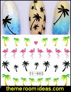 Hawaii Palm Tree Flamingo Beach Water Transfer Sticker Nail Art Tips Decals Wrap