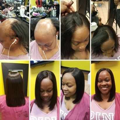 bald women undergo transformation at hairderesser