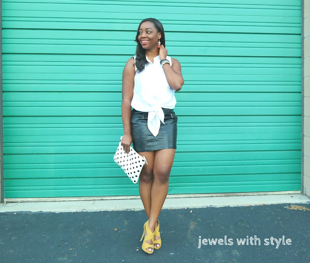 summertime leather, how to wear leather in the summer, leather mini skirt outfit idea, leather skirt in the summer, black leather mini skirt, jewels with style, black fashion blogger, columbus stylist, columbus personal stylist, black style blogger, columbus ohio blogger, black and white outfit ideas summer, how to wear polka dots, yellow shoes outfit ideas