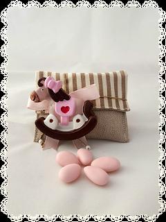 bomboniere gesso cavalluccio rosa