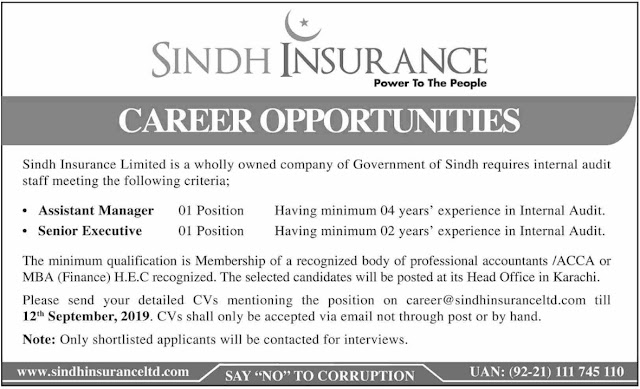 Sindh Insurance Ltd Jobs 2019