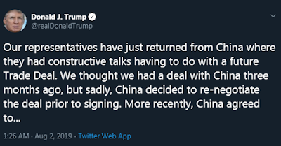 Trump tweets China trade talk