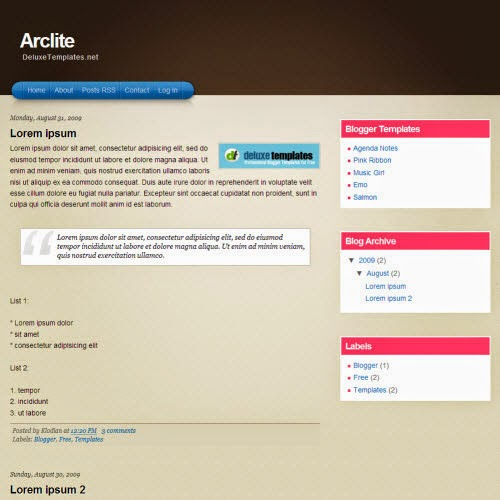 arclite simple blogger template 2014 for blogger or blogspot,download pink blog template,brown template,education blogger template,2 column blogger template 2014 2015