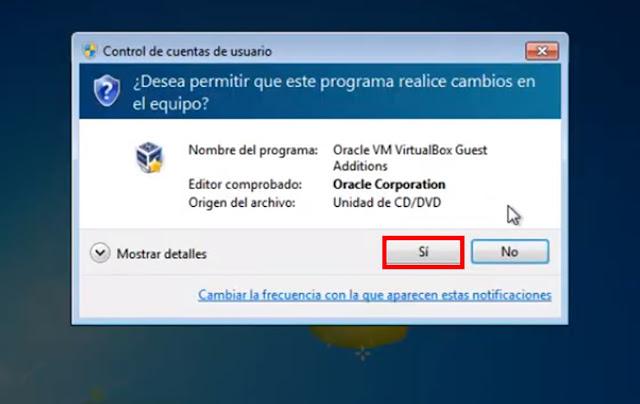 ahora seleccionamos si dando permisos de administrador a la maquina virtual para instalar los complementos