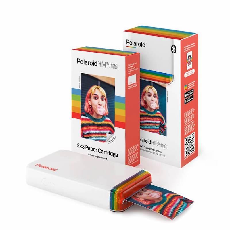 Polaroid Hi-Print mobile printer with the 20-sheet paper cartridge
