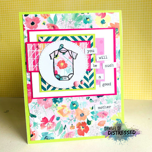 stamped baby girl card handmade