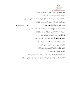 المقرر في مادة اللغة العربية حتى 15 مارس 2020 على جميع الصفوف: