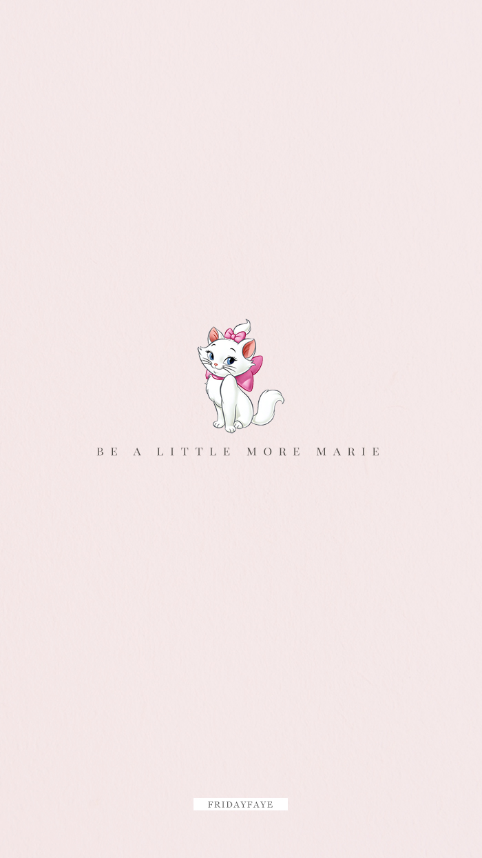"Text on pink background ""Be a little more Marie"""