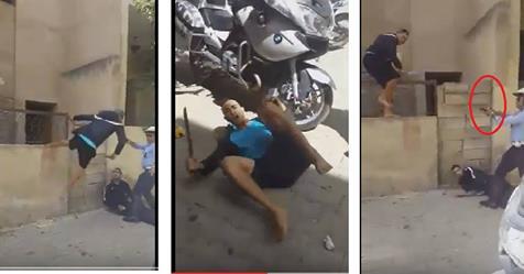 Un policier Marocain tire sur un individu armé d'un sabre qui terrorise la population.