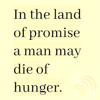 In the land of promise, a man may die of hunger African Proverb.