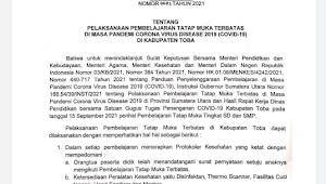 PTM Terbatas di Kabupaten Toba Diperbolehkan