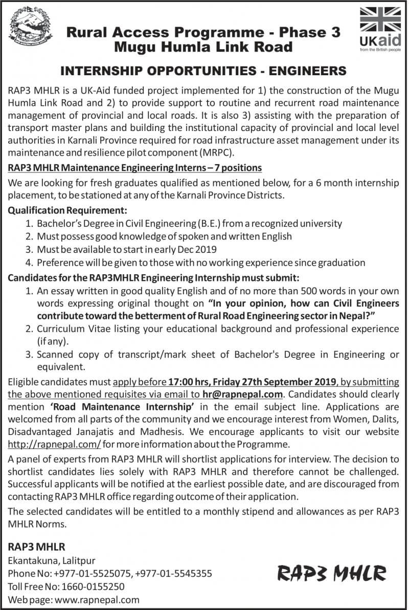 Internship Opportunities to Civil Engineers