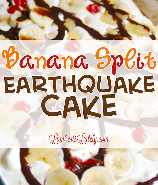 I have got to try this easy recipe for Banana Split Earthquake Cake!  It has all of the yummy flavors you'd expect...chocolate, strawberry, pineapple, and more.  Has easy ingredients like banana pudding mix and is such a simple but wow-factor dessert!