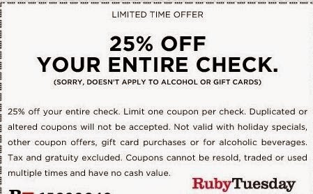 Popular Ruby Tuesday Coupon Codes & Deals