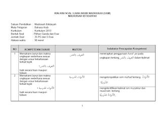 Kisi-Kisi UAMBD Bahasa Arab MI 2020