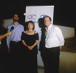Ο Βαγγέλης Αυγουλάς με το Χρήστο Νικολόπουλο και την Πίτσα Παπαδοπούλου