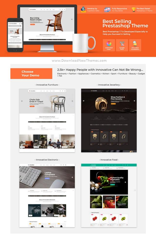 Furniture Food jewellery Electronics Prestashop Responsive Theme