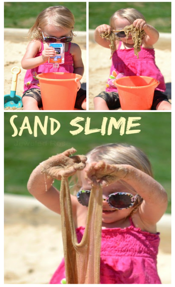 How to make sand slime for kids.  An easy summer play recipe. #sandslime #sandslimerecipe #howtomakesandslime #slimerecipe #slime #slimerecipeeasy #sandboxideas #sandrecipesforkids #sandrecipe