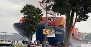 تركيا..اغلاق مضيق البوسفور بعد اصطدام سفينة شحن (فيديو)